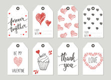 Valentine's day Gift tags set, stickers and labels. Royalty Free Stock Photos