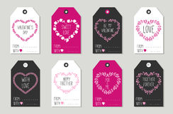 Valentine's day Gift tags set, stickers and labels. Royalty Free Stock Photography