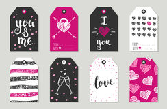 Valentine's day Gift tags set, stickers and labels. Stock Images