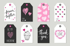 Valentine's day Gift tags set, stickers and labels. Stock Photography