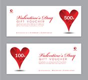Valentine`s Day Gift Voucher template, Coupon, discount, Sale banner, Horizontal layout, discount cards, headers, website vector illustration