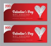 Valentine`s Day Gift Voucher template, Coupon, discount, Sale banner, Horizontal layout, discount cards vector illustration