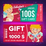 Valentine s Day Gift Voucher Vector. Horizontal Coupon. February 14. Valentine Cupid And Gifts. Shopping Advertisement Stock Photos