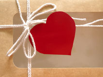 Valentine`s day gifts. Valentine`s day concept with gift box and red heart Stock Images