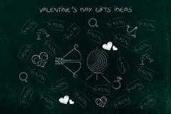 Valentines day presents and price tags with bow and arrow and ta. Valentine`s day gifts ideas conceptual illustration: presents and price tags with bow and arrow Royalty Free Stock Photo