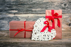 Valentine's Day gifts and white heart. Valentines day background Royalty Free Stock Photography