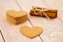 Valentine's day gingerbread hearts Royalty Free Stock Image