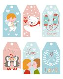 Valentine`s day girft tags Royalty Free Stock Images