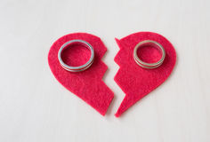 Valentine's day given wedding rings Stock Photo