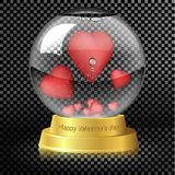 Valentine`s Day. Glass globe with hearts inside. Royalty Free Stock Image