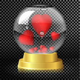 Valentine`s Day. Glass globe with hearts inside. Royalty Free Stock Photos