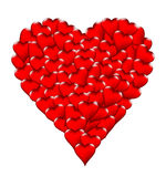 Valentine's Day glossy red heart shapes on white background Stock Image