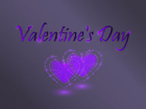 Valentine`s Day. Glowing hearts. Royalty Free Stock Photo