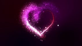 Valentine`s day glowing red and pink bright particle heart. Appears with flourish and bokeh glitter particles. Camera zooms on the heart. Beautiful love symbol stock video footage