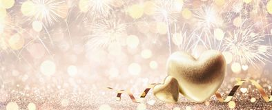 Valentine`s Day Gold Background with Fireworks stock photography