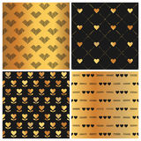 Valentine's Day Gold Heart Patterns Royalty Free Stock Photo