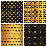 Valentine's Day Gold Heart Patterns Stock Image