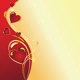 Valentine's day gold & red background. Vector illustration background for Valentine's day Royalty Free Stock Photo