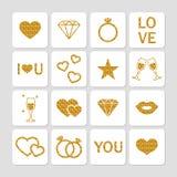 Valentine's day golden glitter design elements set. Stock Photo