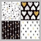 Valentine's Day Golden Glitter Heart Patterns Stock Photo