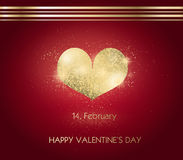 Valentine`s day with golden heart Stock Images