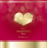 Valentine`s day with golden heart Stock Photos