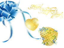 Valentine`s day golden hearts Royalty Free Stock Photo