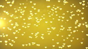 Valentine`s day golden  loopable abstract background. Hearts and glitter lights or bokeh particles stock video