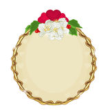 Valentine's Day golden round frame hearts with flowers  background vector Stock Photo