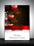 Valentine's Day greeting card. With hearts and red ribbon. EPS 10. Love background Stock Image