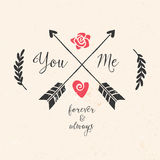 Valentine's day greeting card with arrows, lettering Royalty Free Stock Photo