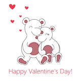 Valentine`s day greeting card with bears Stock Photography
