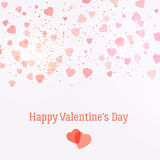Valentine's day greeting card with beautiful pink hearts.Vector background. Stock Photo