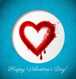 Valentine s Day greeting card with big red blood grunge heart in white circle on blue background. Valentine s Day greeting card with big red blood grunge heart Royalty Free Stock Photography