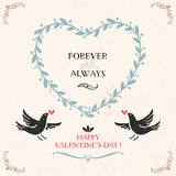Valentine's day greeting card with birds, lettering Stock Images