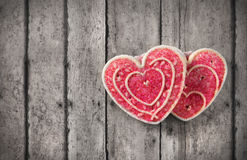 Valentine's day greeting card. Greeting card with valentine's day cookies on a vintage table Stock Photos
