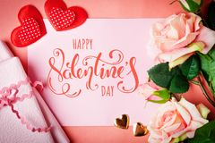 Valentine`s day. Greeting card on coral background. Selective focus. Horizontal. Top view stock photos