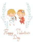 Valentine`s day greeting card with cupids Stock Images