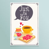 Valentine's Day greeting card design with romantic breakfast - c Stock Image