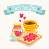 Valentine's Day greeting card design with romantic breakfast Royalty Free Stock Photos