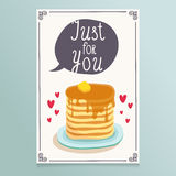 Valentine's Day greeting card design with romantic breakfast - p Stock Photo