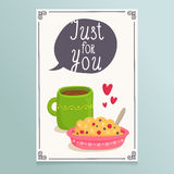 Valentine's Day greeting card design with romantic breakfast - t Royalty Free Stock Images