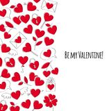 Valentine`s day greeting card. Doodle style. Valentine`s day greeting card. Love symbols icons background. Doodle style Royalty Free Stock Photos