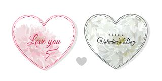 Valentine`s Day. Greeting card with flowers bouquet - white chry royalty free illustration