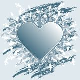 Valentine's Day greeting card with flowers heart on blue grunge Stock Photo