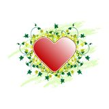 Valentine's Day greeting card with flowers and heart on grunge b Royalty Free Stock Photography