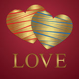 Valentine's Day greeting card, Golden heart, love (14 February). Heart of red and blue with gold stripes. Golden Love letters. Vector illustration stock illustration