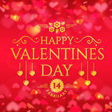 Valentine`s Day greeting card. Happy Valentine`s Day! Romantic greeting card with hearts background. Vector illustration Stock Photo