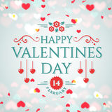 Valentine`s Day greeting card. Happy Valentine`s Day! Romantic greeting card with hearts background. Vector illustration Royalty Free Stock Image