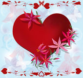 Valentine's Day greeting card with heart on blue Stock Images